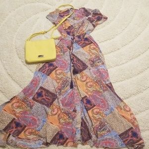 Patchwork Print Maxi Dress
